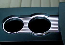 2005-2008 MUSTANG BILLET CENTER DRINK HOLDER BEZEL GROOVED FINISH