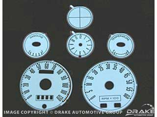 1967-1968 MUSTANG Luminescent Panel Set (6 piece, 6000 RPM Tach)