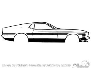 1971-1973 MUSTANG BLACK RALLY SIDE STRIPES