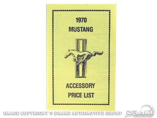 1965-1973 MUSTANG NEW CAR ACCESSORY PRICE LIST