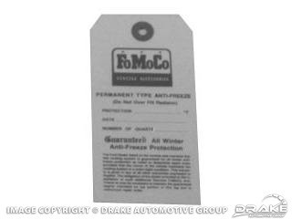 1964-1970 MUSTANG FOMOCO ANTIFREEZE TAG