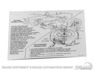 1965-1968 MUSTANG JACK INSTRUCTIONS DECAL