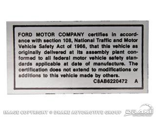 1968-1969 MUSTANG SAFETY ACT DECAL