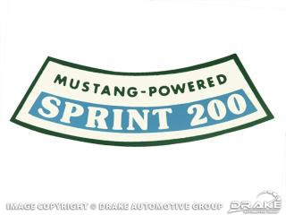 1966 MUSTANG AIR CLEANER DECAL 200 CID SPRINT