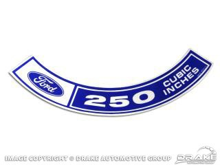 1970-1971 MUSTANG AIR CLEANER DECAL 250 CID