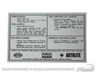 1964-1971 MUSTANG SERVICE SPECIFICATION DECAL