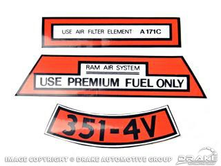 1971 MUSTANG AIR CLEANER DECAL 351 BOSS