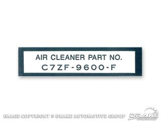 1967 MUSTANG AIR CLEANER PART NUMBER DECAL