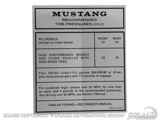 1965-1970 MUSTANG GLOVE BOX TIRE PRESSURE DECALS