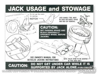 1971 MUSTANG BOSS 351 JACK INSTRUCTIONS (SPACER SAVER)