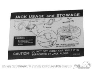 Late 1971-1973 MUSTANG JACK INSTRUCTIONS (REGULAR WHEEL & SPACE SAVER)