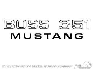 1971 MUSTANG BOSS 351 BLACK FENDER DECAL