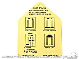 1964-1966 MUSTANG HEATER INSTRUCTION TAG