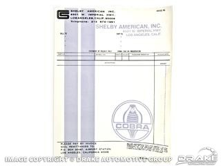 1965 MUSTANG SHELBY DEALER INVOICE