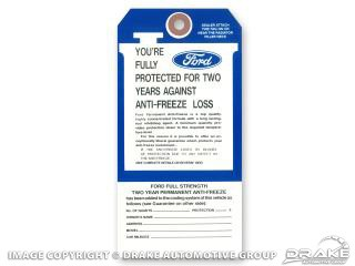 1967-1973 MUSTANG FORD ANTIFREEZE TAG