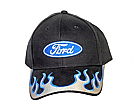 1964-1973 MUSTANG HAT BLACK W/SILVER/BLUE FLAMES
