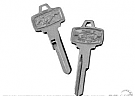 1965-1966 MUSTANG PONY KEY BLANK IGNITION & DOOR