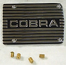 "1964-1973 MUSTANG A/C COMPRESSOR COVER PLATE, ""COBRA"" CLOSED LETTERING"