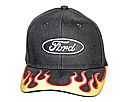 1964-1973 MUSTANG HAT BLACK W/YELLOW/RED FLAMES